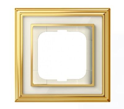 Латунь полированная/белое стекло (металл/стекло)
