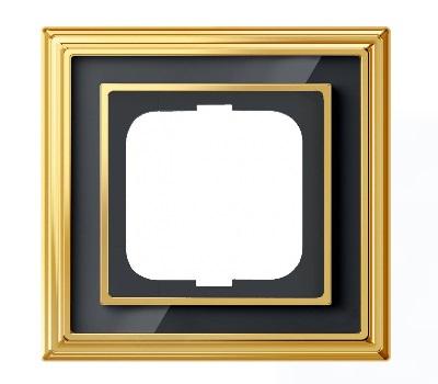 Латунь полированная/черное стекло (металл/стекло)