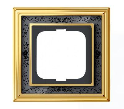 Латунь полированная/черная роспись (металл/стекло)