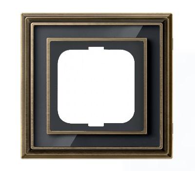 Латунь античная/черное стекло (металл/стекло)